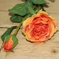Artificial flowers 2 heads orange tea roses for wholesale