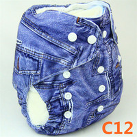C12 YiWu ChangHe Polyester+Cotton 1 Piece Free Sample 12 Printed Design Baby Infant Cloth Diaper Cover