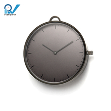 Quartz custom pocket watch stainless steel gun metal sapphire crystal glass 5ATM water resistant