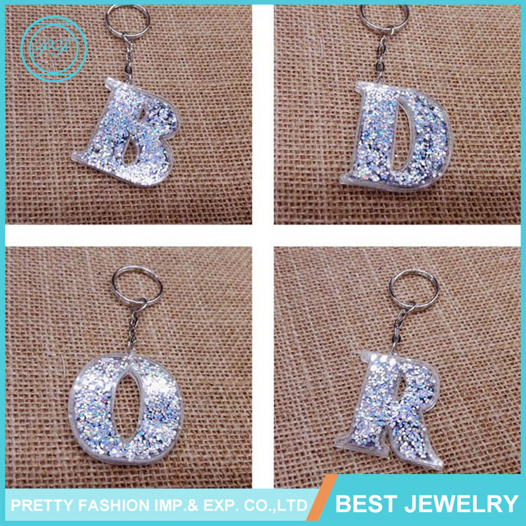 Fashion beautiful alphabet letter beads personalized name keychains