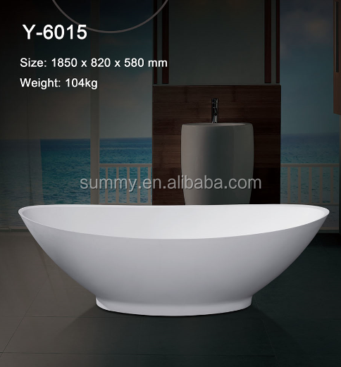 Famous Design Pure White Solid Artificial Stone Bathtub freestanding solid surface bathtub