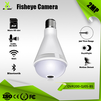 LED Light bulb 2 mp surveillance hidden lamp camera with bluetooth speaker