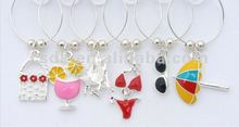 Hot Sale!!! Beach Theme Bikini Sunglasses logo Wine Glass Charms