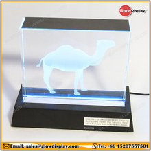 GlowDisplay Camel Cigarettes 3D Lighted Glass Crystal Block Display LED Base