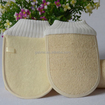 Hotselling natural loofah sponge exfoliating body scrubber bath glove