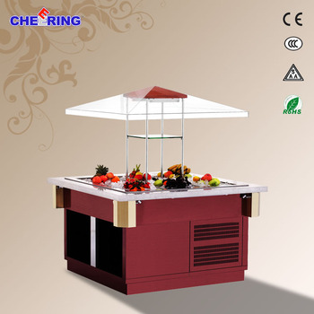 1465*1465*1760MM display salad bar stainless steel electric salad bar
