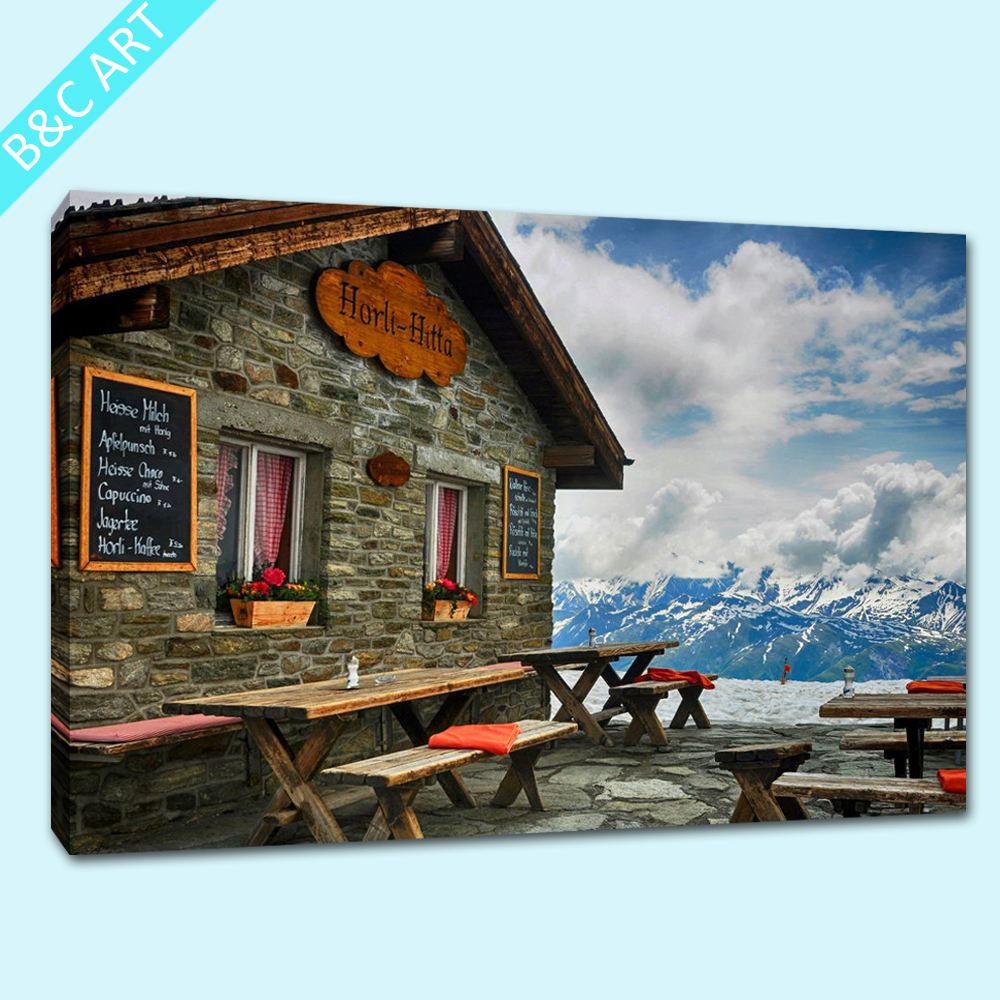 Pictures Canvas Village Scenery Drawing Retro Style House Wallpaper Home Decoration Print On Canvas