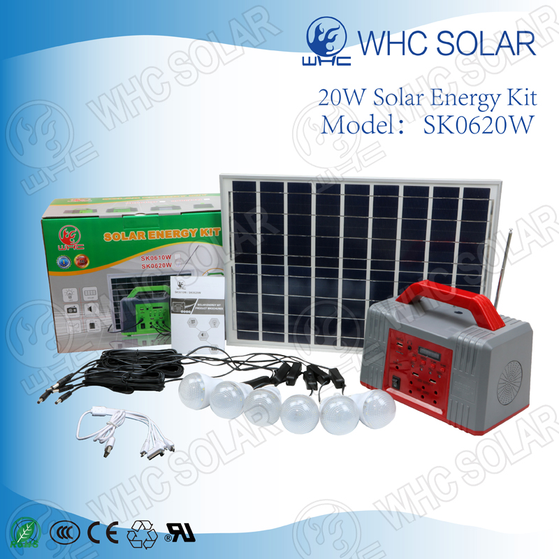 Hot sale 24hours lighting 6V 20W home solar energy kit