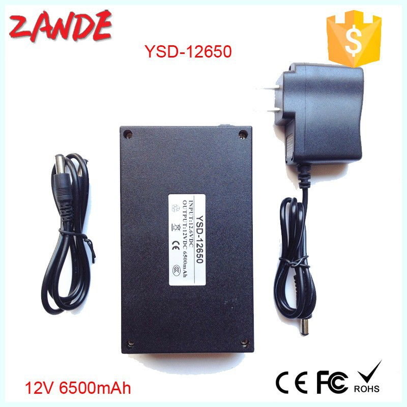 6500 mah 12v li ion battery pack rechargeable for cctv camera or LED strips with AC plug
