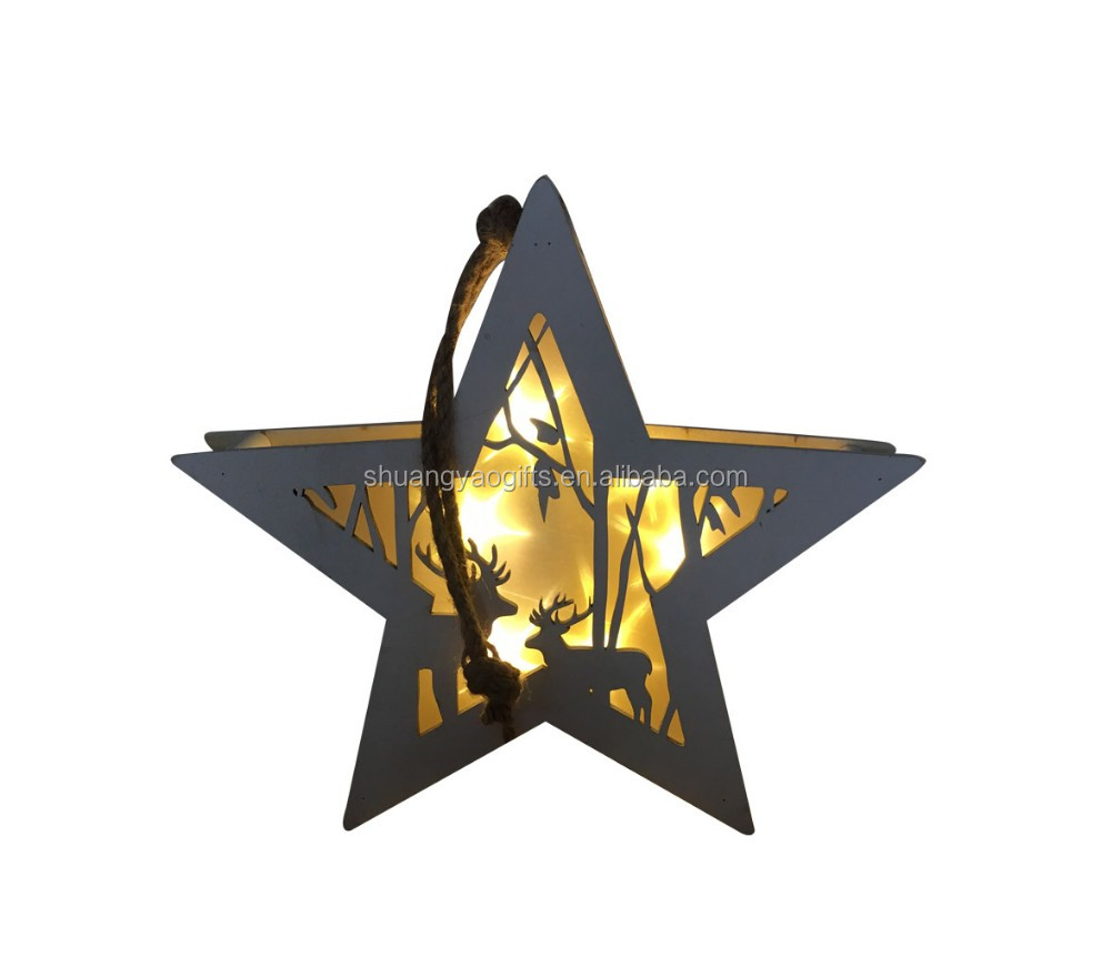Wooden christmas LED lighted star hanging ornaments xmas gifts for home hanging on window