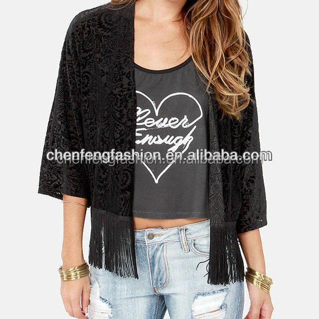 CHEFON Bohemian inspired open front black velvet burnout fringe kimono top CLS0022