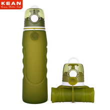 2018 NEW 35oz Food Grade Silicone Foldable Squeeze Sports Water Bottle For Travel