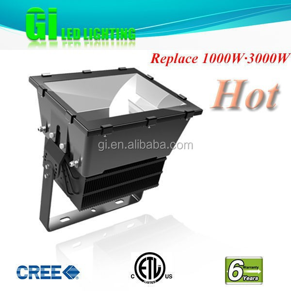 Top quality 6 years DLC ETL cETL 1000w 2000w led floodlight for stadium light