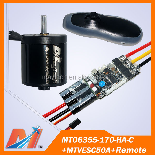Maytech 6355 170kv motor engine and radio control vesc and electric bikes remote for electric skateboard wheel