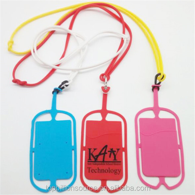 2020 silicone lanyard with phone holder wallet pockets