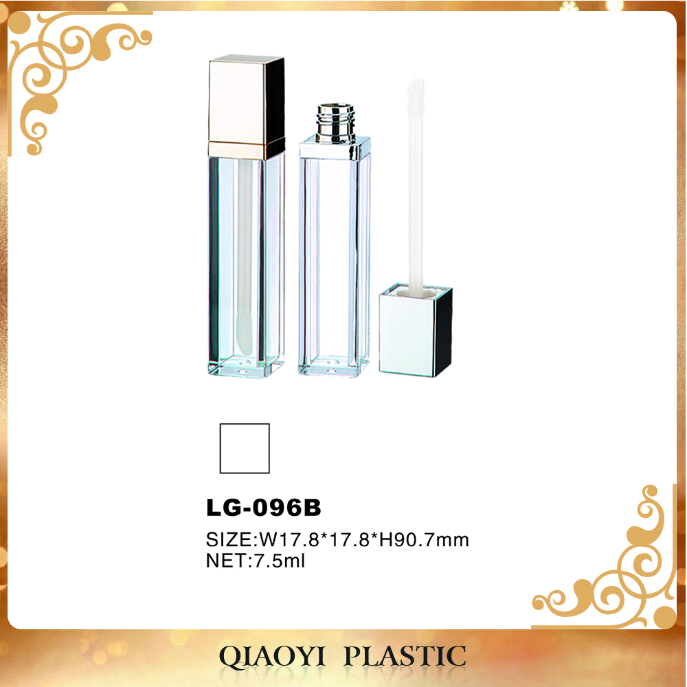 Low price plastic lip gloss bottle , PE wipers square lip gloss containers