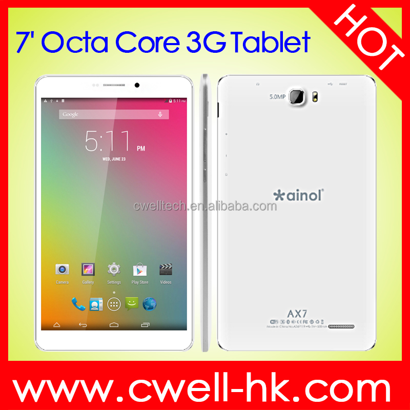 Original Octa Core 7 Inch FHD Touch Screen Ainol AX7 MTK8392 Android 3G Tablet PC with SIM Card