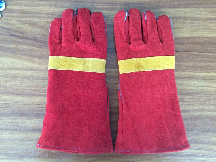 double palm 14'' red cow split leather welding gloves for sale