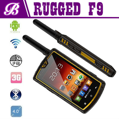 4.0inch F9 rugged phone MTK6582 Android 4.2 NFC walkie talkie dual sim ip67 waterproof omes mobile phone