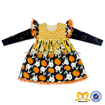 2016 Wholesale New Style Halloween Pumpkin Lamp Printed Cute Long Sleeve Golden Cloth Stripe Decorated Baby Dress Girls