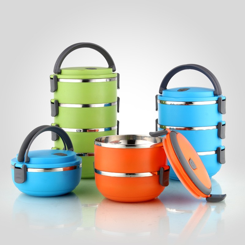 Round Stainless Steel 2Layers thermos lunch box food container