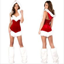 Ladies Sexy Christmas Santa Costume Dress&Hood Xmas Party Fancy Dress Outfit