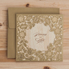 Gold Square Hollow Flora Vintage Laser Cut Wedding Invitation Engagement Invitation Anniversary Invitation