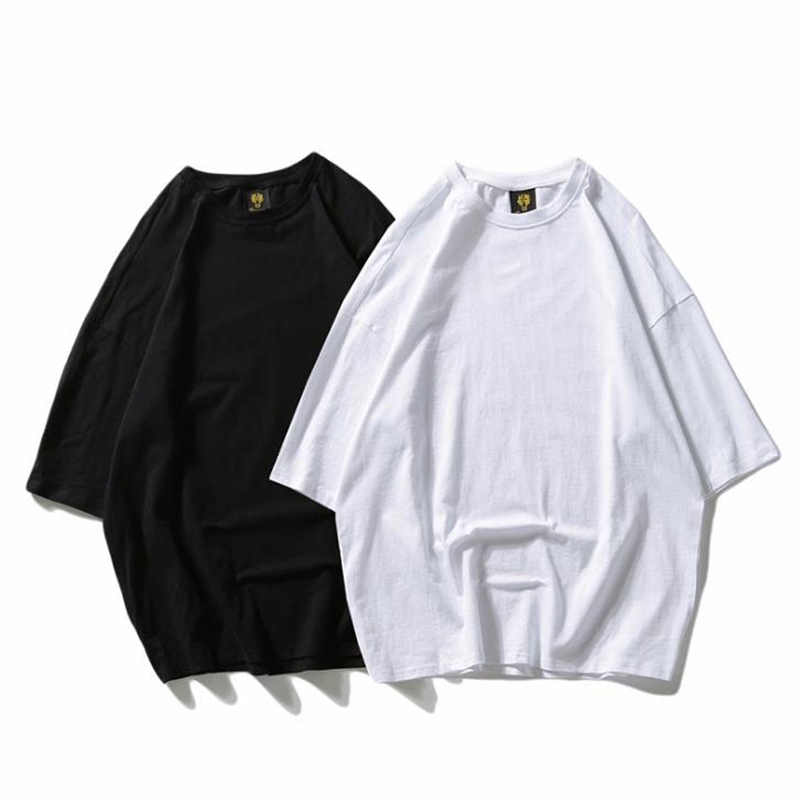 Plus size men plain black white blank drop shoulder hip hop long <strong>t</strong>-<strong>shirts</strong>