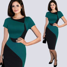 Wholesale pencil skirt new short sleeve ladies simple fashion dress