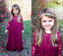 Wholesale children boutique well dress Burgundy Flower Girls Wedding Vintage Lace Long Sleeve Floor Length Girls Pageant Dress