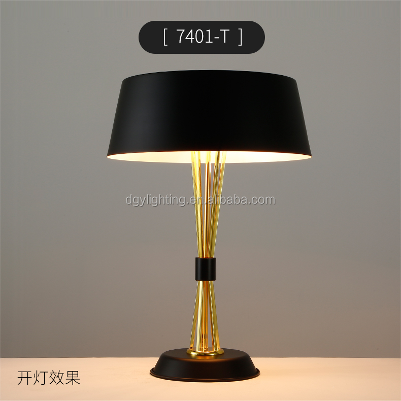 classic hotel bed side decorative gold black luxury modern table light for restaurant