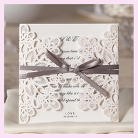 custom Chinese wedding invitation card 2016 in China factory, free design with lace and embossed card WM207