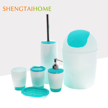 Hot Bathroom Product 6 Pieces One Set Apple Green Plastic Bathroom Accessories Set