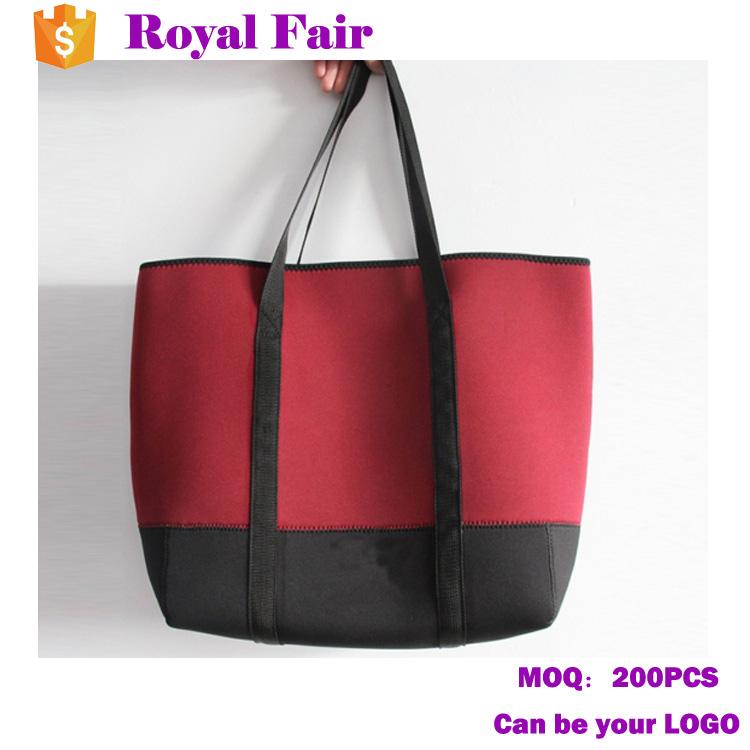Color blocking Neoprene Shopping Tote Beach Bag