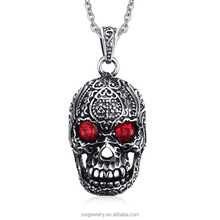 PN-554 Custom Fashion Stainless Steel Jewelry Skull Ruby Pendant jewlery making supplies