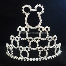 wholesale china hair accessories beauty pageant cat crown with crystal
