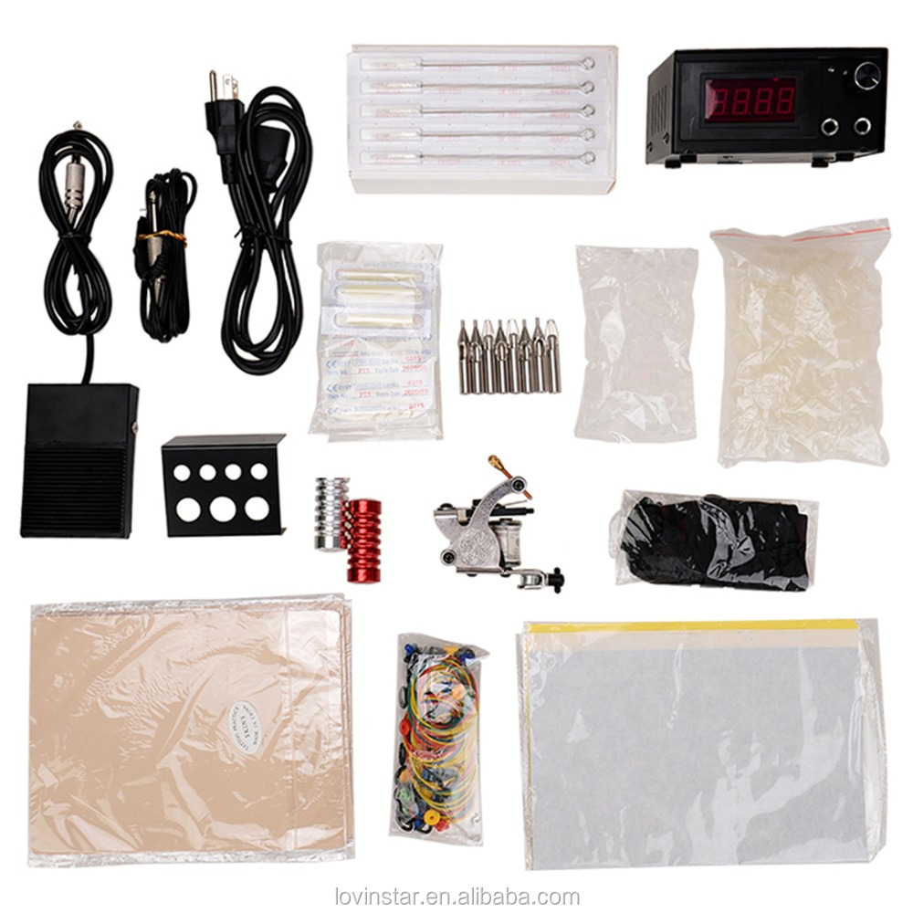 2016 Professional Tattoo Gift Kit Tattoo Machine + Power Supply + Pedal + Needle + Accessories Bag ect