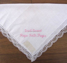Wholesale ladies plain white lace handkerchief white cotton lace edged handkerchief