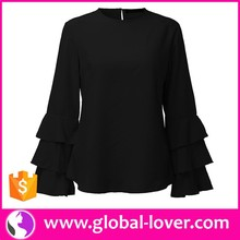 2017 women black full sleeves blouse designs chiffon style blouse