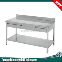 demountable structure 2 layers stainless steel fruits and vegetables worktable with drawers