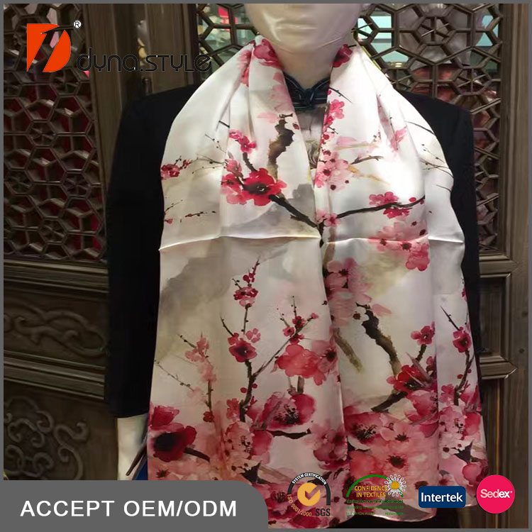 175cm by 52cm Beautiful Plum blossom Wintersweet Titoni Print 12mm Silk hijab shawl