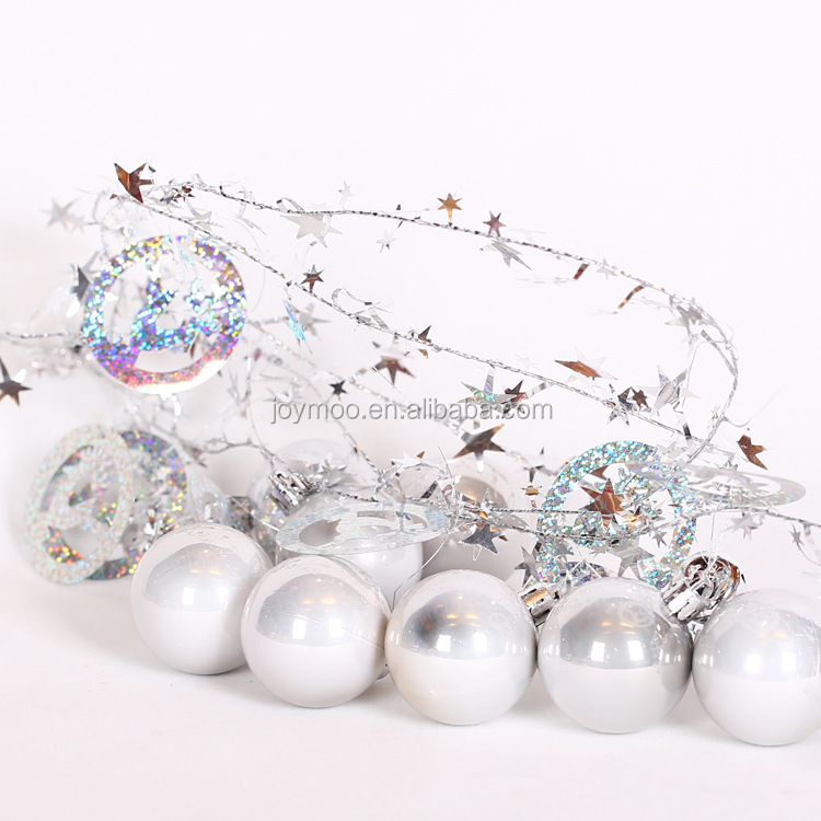 Factory Direct 5 6 8cm Plastic Hanging Pearl White Christmas Ball for Christmas Decoration
