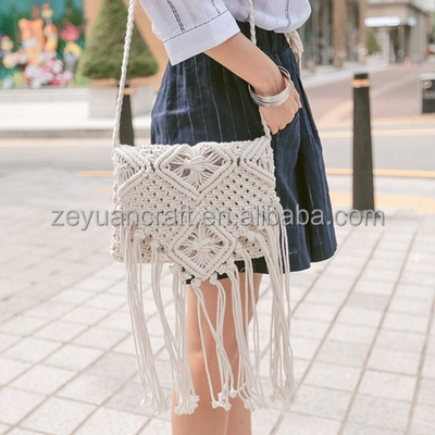Fashionable tassel crochet bag single shoulder bag for women