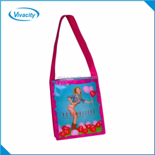 Hight quality reusable shopping custom promotional advertising long handle shoulder non woven message bag