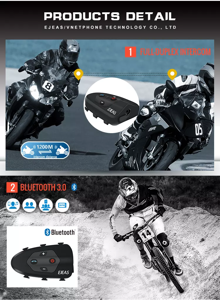 New Arrival Bluetooth Intercom For Helmet FM 1200m Talking Motorcycle Bluetooth Intercom