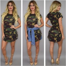 Leisure Round Neck Short Sleeves Camouflage Printed Polyester Sheath Mini Dress