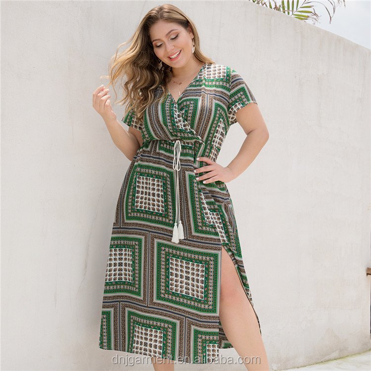 Casual women summer plus size women summer african bohemian maxi dress