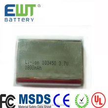 ICP103450CA Prismatic 1900mAh 3.7v Li-Ion 103450 Battery 103450 Lithium Ion battery rechargeable 3.7V