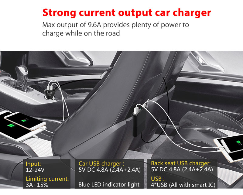 2017 universal front charger with back seat charger mobile phone charger