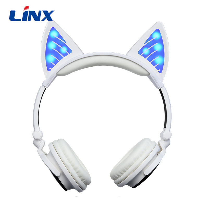 Portable over ear foldable LED light cat ear bluetooth music headphones wireless